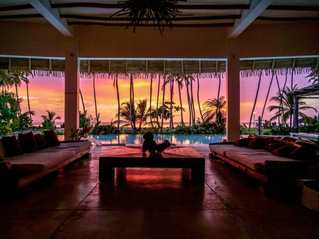 Sunset from a luxury villa, accommodations in las terrenas dominican republic