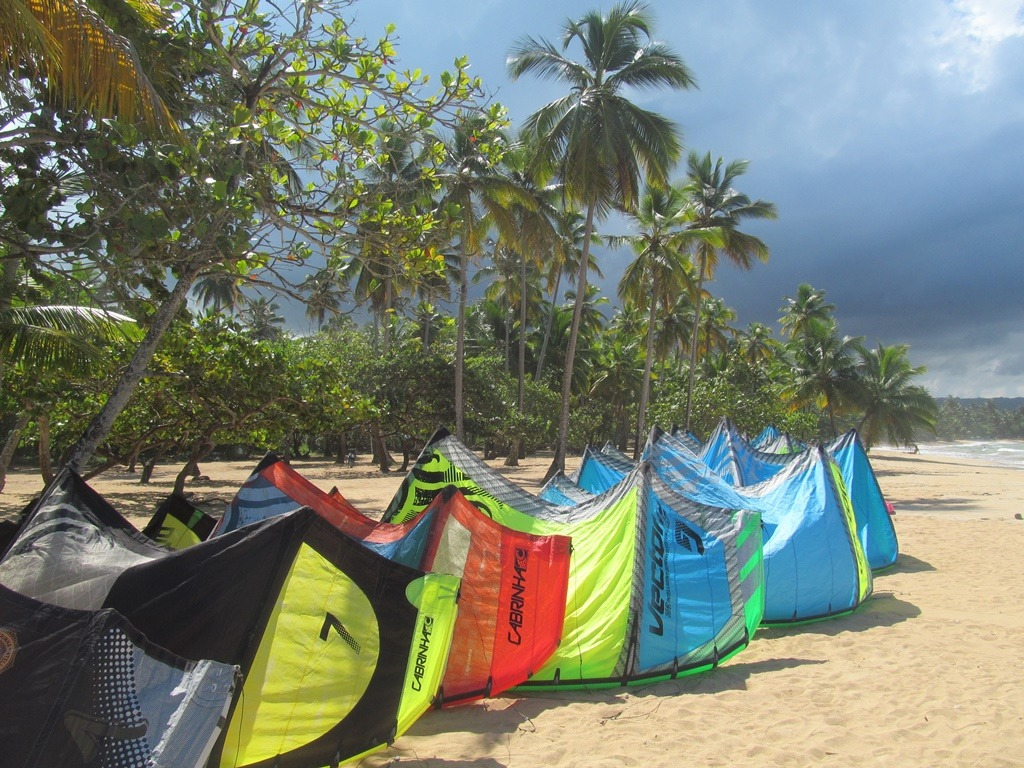 Kiteboards on the beach, Dominican REpublic