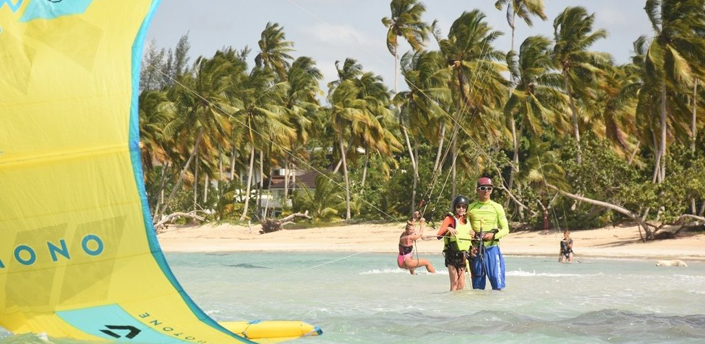 Teaching kitesurfing for kids in the Dominican Republic