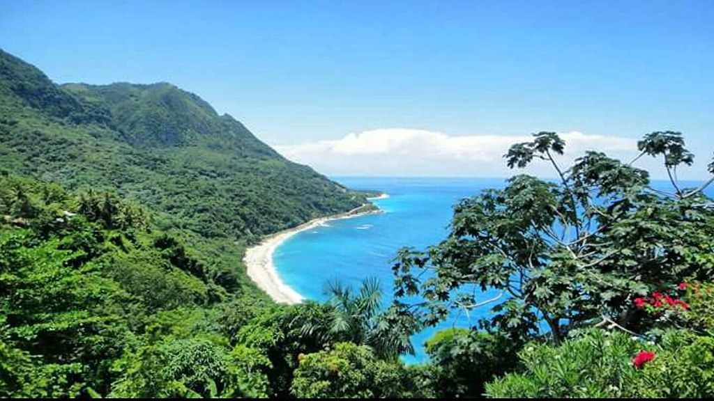 Beach and mountains in Barahona, Dominican Republic